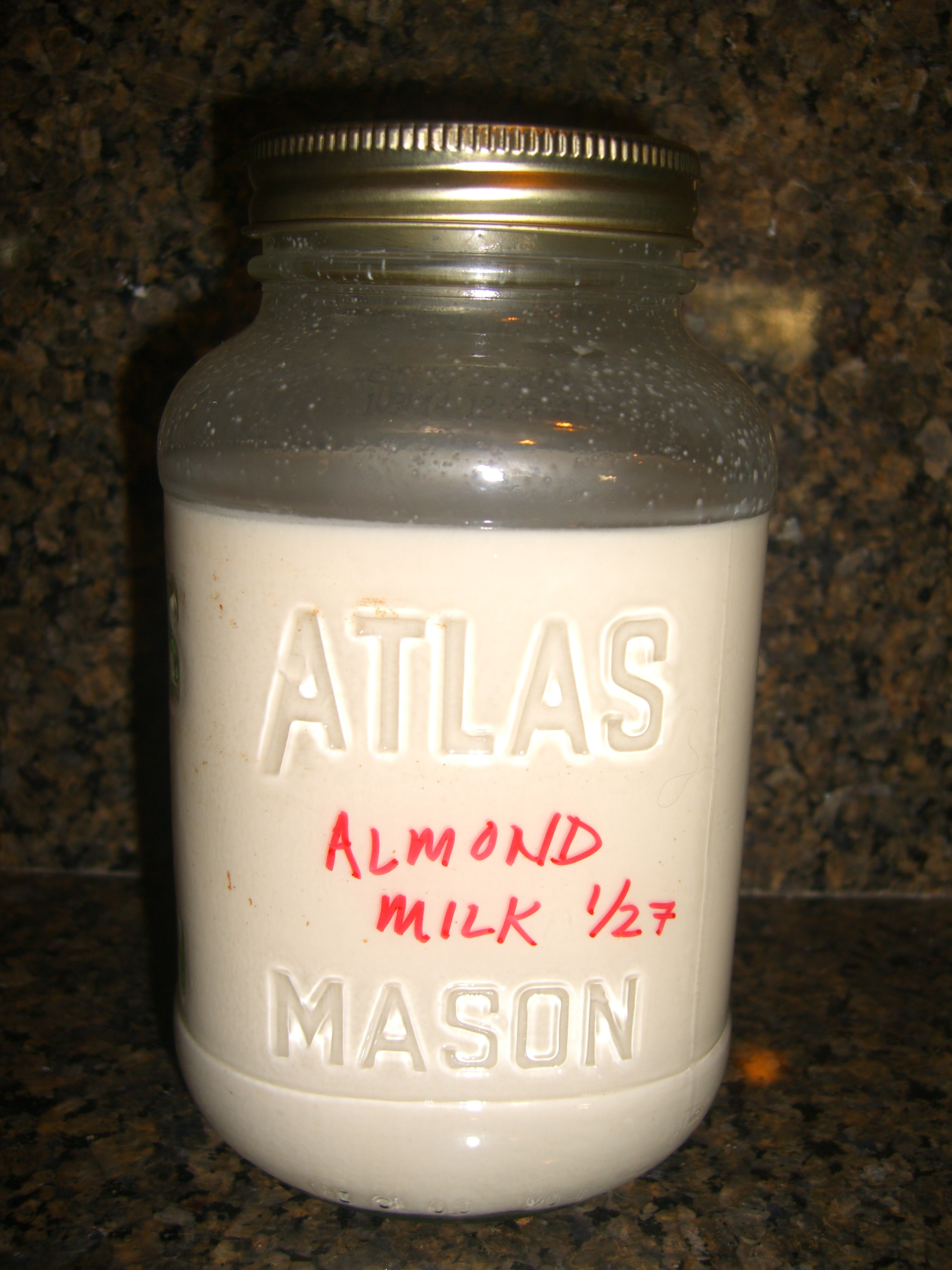 Store Plain Almond Milk in the Fridge in a Mason Jar
