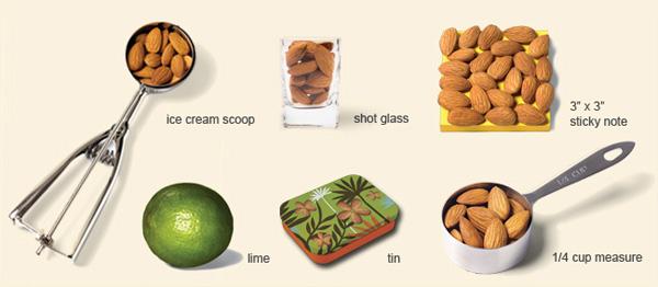 1 handful= 23 almonds = 1 ounce