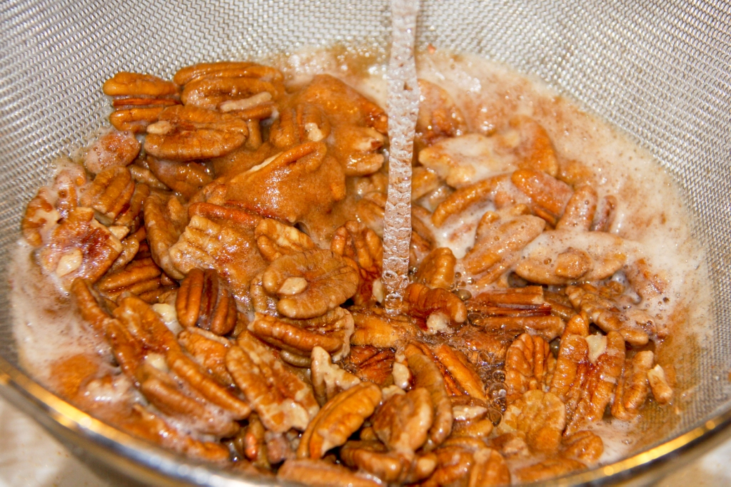 Rinse the Soaked Pecans