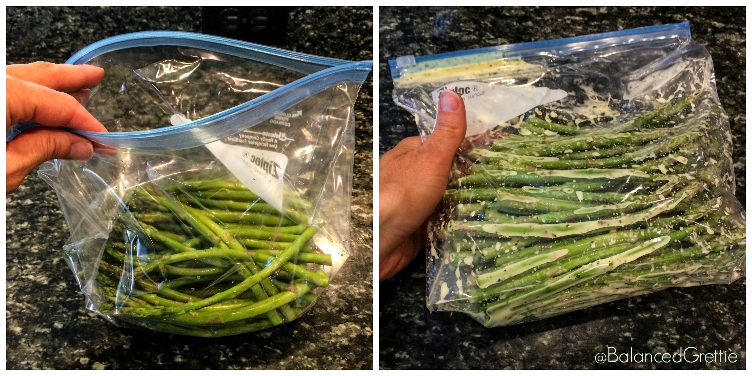 Balanced Grettie Marinating Asparagus in a bag