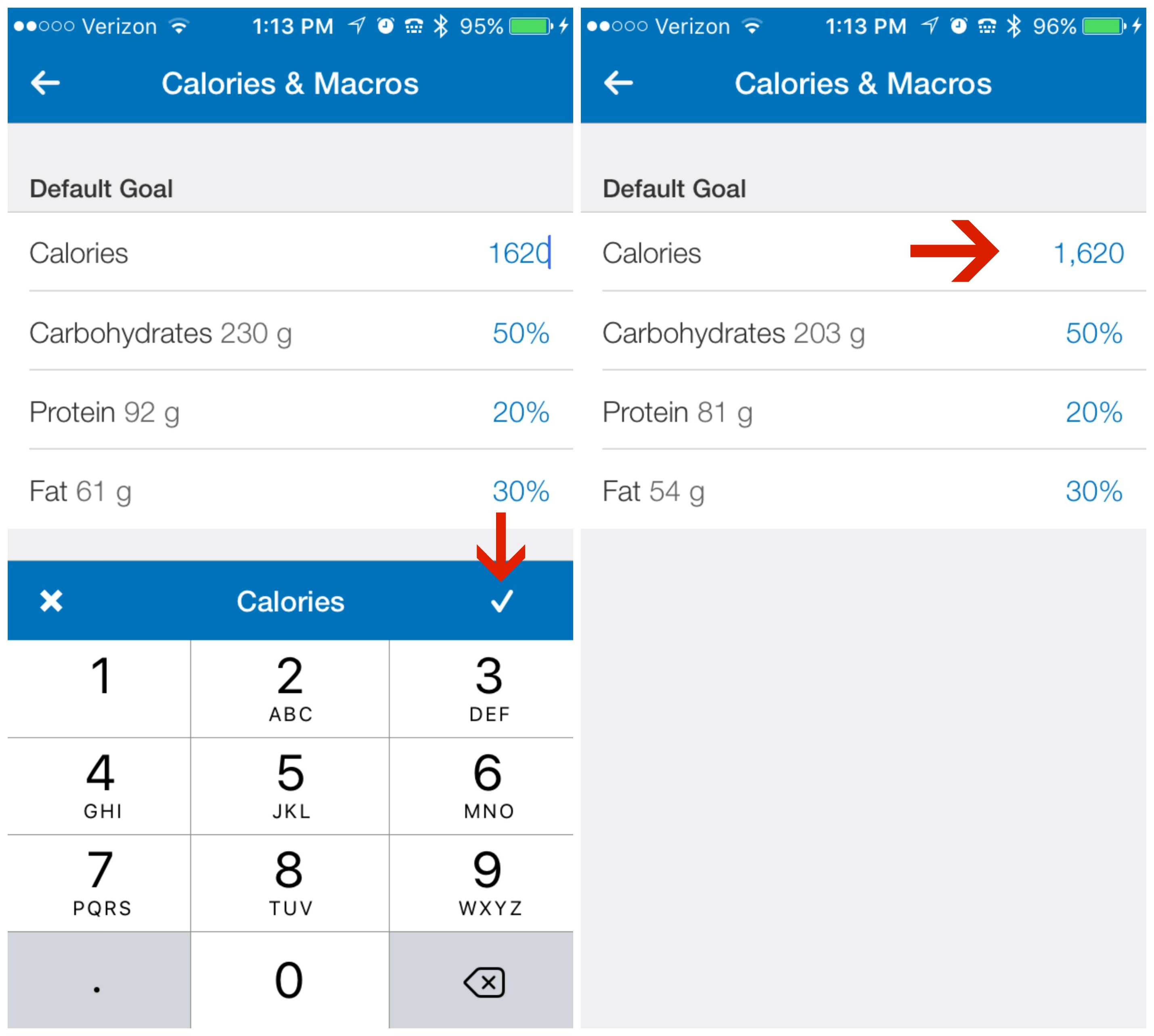 9.5 Calories changed MFP